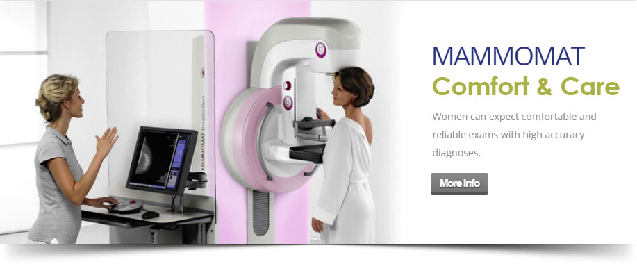 Patient prepares for a mammogram.